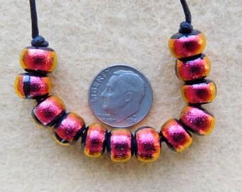 12 Dichroic Copper Dichroic Beads  handmade by DEE HOWL BEADS