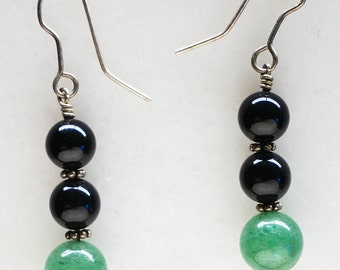 Elegant Jade and Black Onyx earrings