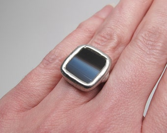 Dark Horizon - Sterling Silver Stained Glass Ring - Size 6.5