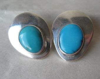 Turquoise Teardrop Oval Sterling Earrings Clip Vintage 925 Southwest Cab Stone TC