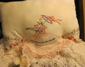 Vintage Ebroidered Lady on Pillow,White...Repurposed Pillow Case, Crocheted Edge