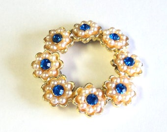 Vintage Upcycled Jewelry Flower Magnet, Gold Toned with Faux Pearls Rhinestones,  Home Decor