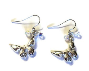 Silver with Crystal AB and Butterflies Pierced Dangle Earrings,  Gift for Her