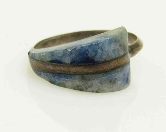 Vintage Sterling Ring 950 Sterling Silver Blue Ring R7577