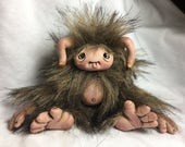 OOAK Brown Fuzzy Baby Monster