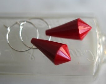 Red Drop Earrings, Silver Hoops, Red Dangles, Faceted Lucite