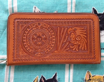 Vintage 1940's 1950's Mexico leather wallet clutch