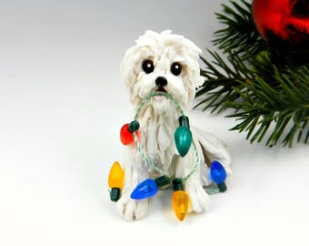 Coton de Tulear Christmas Ornament Figurine Lights Porcelain