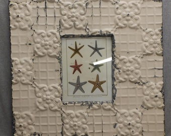 TIN CEILING Picture Frame 8x10 Cream Shabby Recycled chic 24-17R