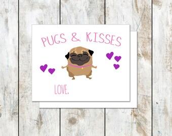 Pugs and Kisses Valentine - Pug Valentine - Instant Valentine - Pug Printable Valentine