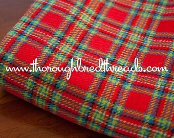 Preppy Plaid - Vintage Fabric Multi-Colored Wool Blend Red Christmas Holiday