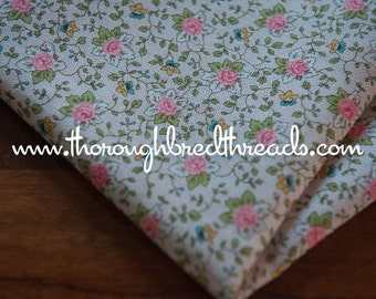 Pink Rose Garden - Vintage Fabric New Old Stock Preppy Classic Floral
