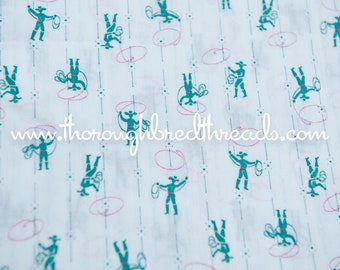 Cowboys and Lassos - New Old Stock  Vintage Fabric Mod Juvenile Cowboy Cowgirl 60s