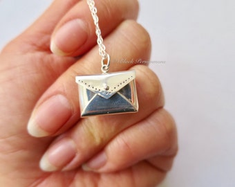 Envelope Locket Necklace - Solid 925 Sterling Silver - Insurance Included