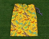 Drawstring pouch, dragonflies cotton drawstring bag for toys, gifts, treasures
