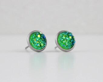 Shamrock Green Druzy Crystal Earrings | ATL-E-156