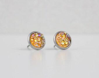 Carrot Orange Druzy Crystal Earrings | ATL-E-195