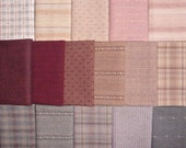 Japanese Taupe fabrics - 16 pink and mauve fat eighths