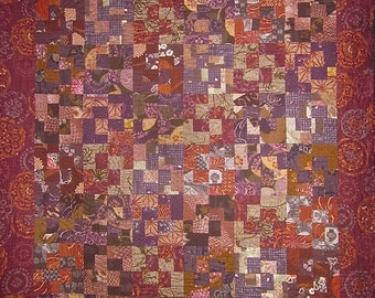 Patchwork Quilt - rust, burgundy and purple Japanese Eclipse throw