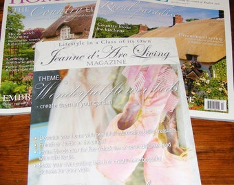 SALE Jeanne d'Arc Living 5 Th Issue May 2015 and The English Home April and August 2016  Magazine Lot