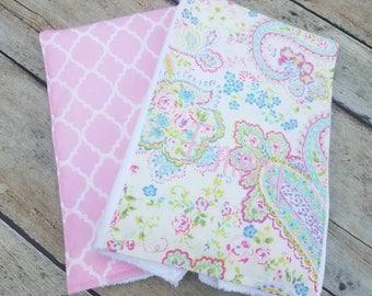 Monogrammed Burp Cloth, Baby Gift Set of 2, Personalized  Burp Cloths, Girl Burp Cloth, Pink Paisley Burp Cloths