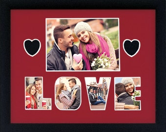 Valentines Day LOVE Custom Photo Collage 11 x14 (mat only)