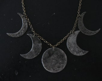 Moon Phases Statement Necklace - Tinned Copper with Vintage Brass Chain