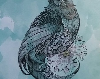Pen and ink drawing of crow print with color pencil,bird,flower,blue,garden,black bird.