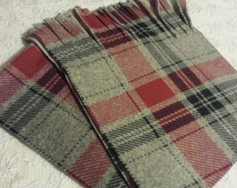 Deluxe Ultra Soft! 500+ Print Selection! High Density Plaid Fleece Winter Fleece Scarf Super Thick Super Soft Cranberry Red Grey Plaid