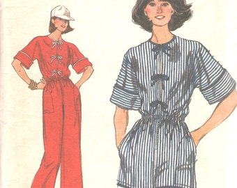 1970s Vogue 9517 Misses Jumpsuit Romper Pattern Elastized Waist Very Easy Womens Vintage Sewing Pattern Size  Size 8 Bust 36