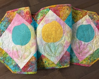 Quilted SCRIBBLE FLOWERS Table Runner . . . Colors of Spring . . . Scribble Embroidery Design . . . Ready for BLOOMING Flowers