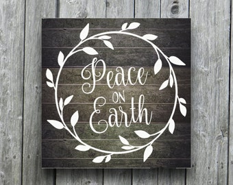 Rustic Christmas Decoration Holiday Sign Peace on Earth Wreath Vinyl Decal Sticker Farmhouse Cottage Country Primitive Christmas