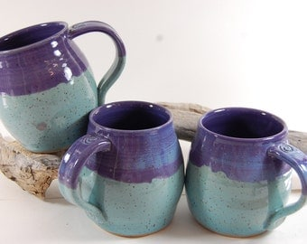 Pottery Mug Handmade Purple Grape and Turquoise Blue Glaze Serving Coffee Tea