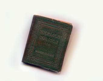 Antique Miniature Sherlock Holmes Little Leather Library Green Cover Pocket Size Book Case of Identity Scandal in Bohemia A. Conan Doyle