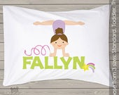 Personalized gymnastics girl pillowcase  - cute gymnast pillow for your little girl PIL-058