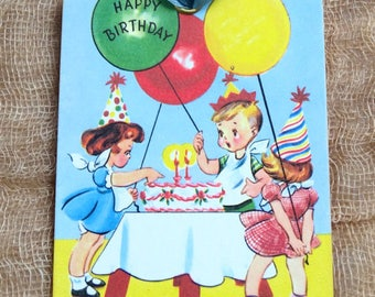 Retro Happy Birthday Children Birthday Party Cake & Balloon Gift or Scrapbook Tags or Magnet #378
