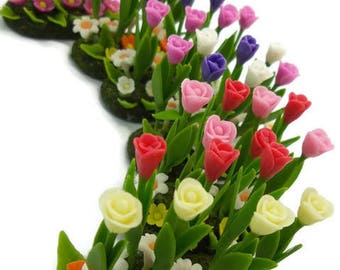 Tulip Minigarden Polymer Clay Flowers for Dollhouse, delicate and beautiful, set of 3 pieces