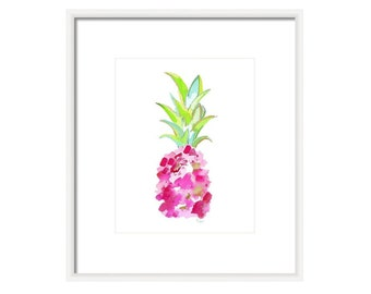 Watercolor Pink Pineapple Print-Tropical Pink-Wall Art, Watercolor Print, Fruit Print, Fine Art, Home Decor,Giclee, Kids Room, Tropical Art