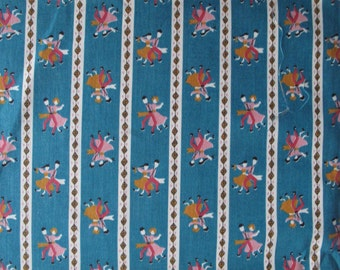 Vintage 1950s Cotton Fabric - Tiny Dancers - 50s Fabric