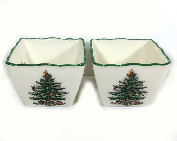 Vintage Spode Christmas Tree Pair Of Tealight Candle Holders