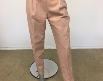 BALLY Blush Pink Leather Pants Trousers Size 44 US 8