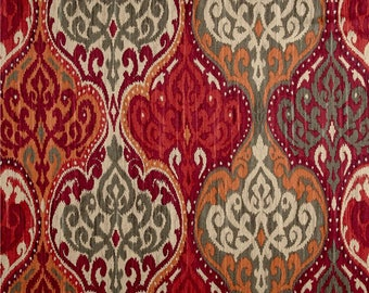 """Red Orange Window Curtains, Trendy Damask Drapes, Moroccan Curtains, Spice, Cinnabar, Rod-Pocket, One Pair 50""""W"""