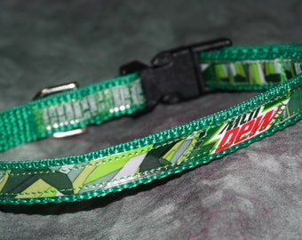 Adjustable Cat or Toy Dog Collar from Recycled Mt Dew Soda Bottle Labels