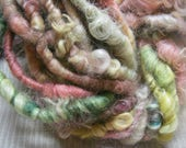 Handspun Hand Dyed Soft Curly Super Bulky Cotswold Wool Art Yarn in Turquoise Pink Yellow by KnoxFarmFiber for Knit Weave Felt Crochet