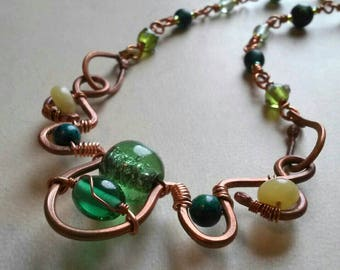Hammered Copper Wire Wrapped Necklace of Green Glass Yellow Jade Tagua Nut Turqouise