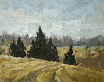 Pines Along Brownell | Oil Painting | 6 x 6.5