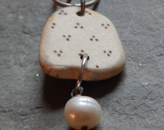 Brown and White Polka Dot Beach Pottery Shard with Freshwater Pearl Dangle, beach find, beach china, beach treasure, beach combing, rare