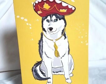 Fiesta Husky Greeting Card