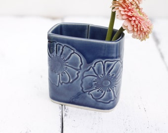 blue rectangle vase
