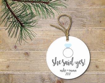 Engagement Christmas Ornament, First Christmas Together, First Christmas Married, Our First Christmas, Wedding Gift, Engaged, She Said Yes